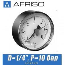 "Манометр Afriso RF 63 539 D1/4"" P=10 bar"