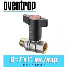 """Кран шаровый с Т-образной ручкой Oventrop Optibal D1""""x1"""", вн/нар."""