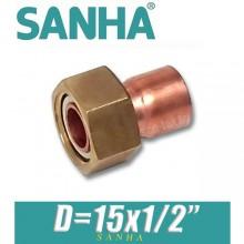 """Гайка накидная медная под пайку Sanha D=15х1/2"""""""