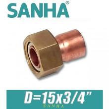 """Гайка накидная медная под пайку Sanha D=15х3/4"""""""