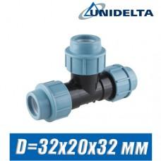 Тройник ПЭ Unidelta D=32x20x32 мм