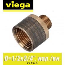 """Переход бронзовый Viega D1/2""""x3/4"""", нар./вн."""