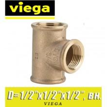 """Тройник бронзовый Viega D1/2""""x1/2""""х1/2"""", вн."""