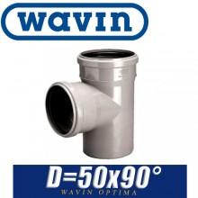Тройник канализационный Wavin Optima D50x90 град.