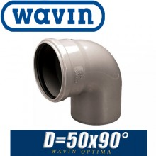Угол канализационный Wavin Optima D50x90 град.