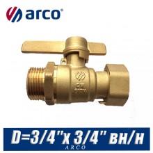 Кран шаровой Arco SIL с американкой D=3/4″x 3/4″ вн/нар