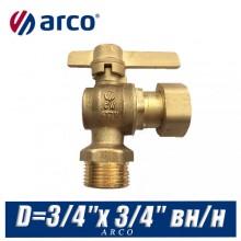 Кран шаровой угловой Arco SIL с американкой D=3/4″x 3/4″ вн/нар