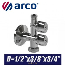 """Кран шаровый угловой Arco COMBI MAC D1/2""""x3/8""""x3/4"""""""
