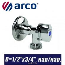 """Кран шаровый угловой Arco L-85 D1/2""""x3/4"""", нар/нар."""
