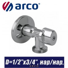 "Кран шаровый угловой Arco L-85 MAC D1/2""x3/4"", нар/нар."