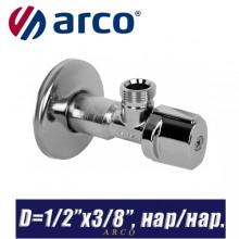 """Кран угловой Arco A-80 MAC D1/2""""x3/8"""", нар/нар."""
