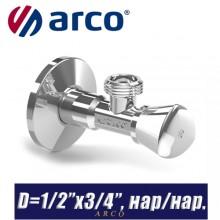 """Кран угловой Arco A-80 REGULA D1/2""""x3/4"""", нар/нар."""
