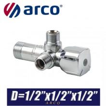 "Кран угловой Arco A-80 TWIN D1/2""x1/2""x1/2"""