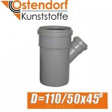 Тройник канализационный Ostendorf D110/50x45 град.