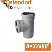 Тройник канализационный Ostendorf D32x90 град.
