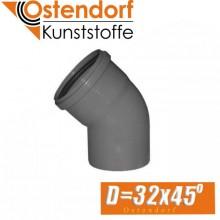 Угол канализационный Ostendorf D32x45 град.