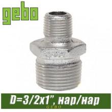 """Нипель оцинкованный Gebo 1 1/2""""x1"""" н/н"""