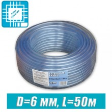 Шланг ПВХ пищевой, технический D=6 мм, 50 м
