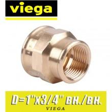 """Муфта бронзовая редукционная Viega D1""""x3/4"""", вн./вн."""