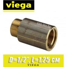 """Удлинитель бронзовый Viega D1/2"""", L1,25 см"""
