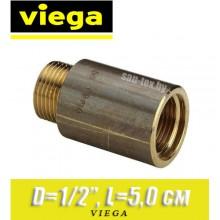 """Удлинитель бронзовый Viega D1/2"""", L5,0 см"""