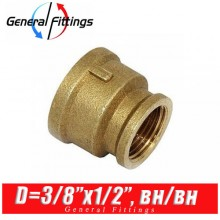 "Муфта латунная General Fittings D3/8""x1/2"", вн./вн."