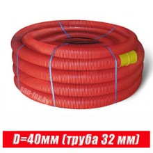 Пешель для трубы 32 мм D40 красная (бухта 50 м)