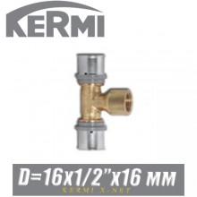 """Тройник под пресс Kermi x-net 16x1/2""""x16 мм, вн."""
