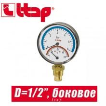 """Термоманометр с боковым подключением Itap D1/2"""""""