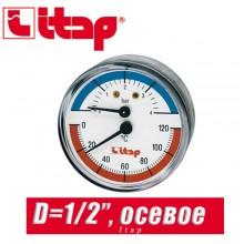 """Термоманометр с осевым подключением Itap D1/2"""""""