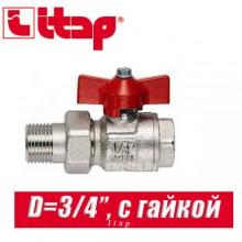 """Кран шаровый с накидной гайкой прямой Itap D3/4"""" (20 мм)"""
