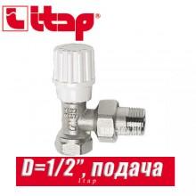 """Кран радиаторный угловой (подача) Itap D1/2"""" (15 мм)"""