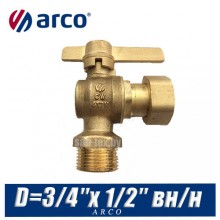 Кран шаровой угловой Arco SIL с американкой D=3/4″x 1/2″ вн/нар