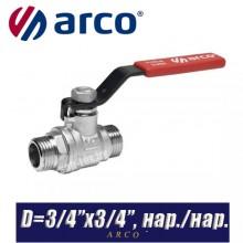 Кран шаровый Arco TURIA 3000/VA40 D3/4ʺx3/4ʺ, нар/нар.