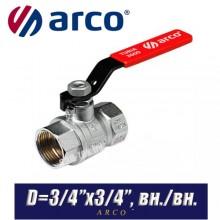 Кран шаровый Arco TURIA 3000/VA40 D3/4ʺx3/4ʺ, вн/вн.