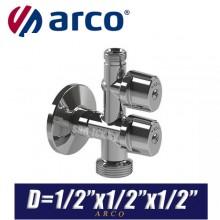 """Кран шаровый угловой Arco COMBI MAC D1/2""""x1/2""""x1/2"""""""