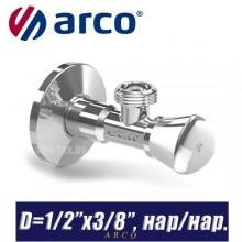 """Кран угловой Arco A-80 REGULA D1/2""""x3/8"""", нар/нар."""