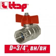"""Кран шаровый с бабочкой Itap D3/4"""" (20 мм) вн/вн"""
