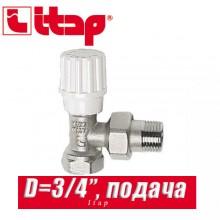 """Кран радиаторный угловой (подача) Itap D3/4"""" (20 мм)"""