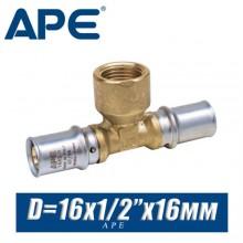 """Тройник под пресс APE D16x1/2""""x16 мм, вн."""