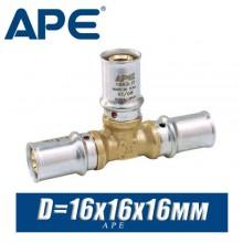 Тройник под пресс APE D16x16x16 мм