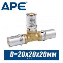 Тройник под пресс APE D20x20x20 мм