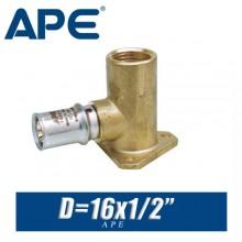 """Угол под пресс с креплением APE D16x1/2"""", вн."""