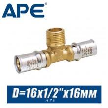 """Тройник под пресс APE D16x1/2""""x16 мм, нар."""