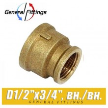 "Муфта латунная General Fittings D1/2""x3/4"", вн./вн."