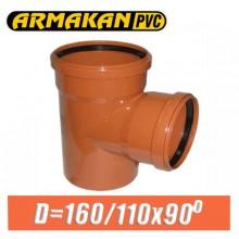Тройник канализационный ПВХ Armakan D160/110x90 град.