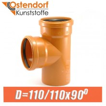 Тройник канализационный ПВХ Ostendorf D110/110x90 град.