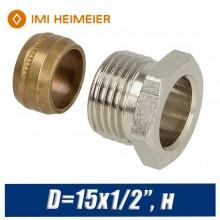 """Переход под медную трубку IMI Heimeier D=15x1/2"""", н."""