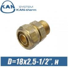 """Соединитель KAN-therm свинч D=18x2,5-1/2"""", н."""