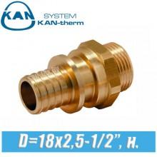 """Соединитель KAN-therm Push D=18x2,5-1/2"""", н."""